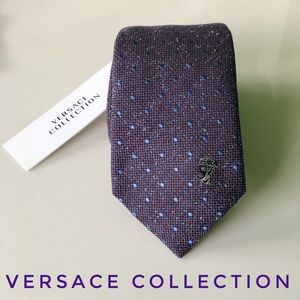 NWT Versace Collection Purple Blue Polka Dot Tie